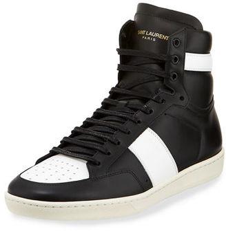 Saint Laurent SL/10H Men's Signature Court Classic Leather High-Top Sneaker $595 thestylecure.com