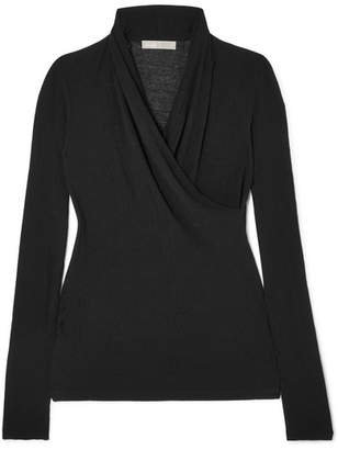 Vince Wrap-effect Cotton-jersey Top - Black