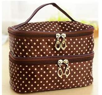 ONLINE Multi-Functional Polka Dots Pattern Double Layer Cosmetic Organiser Bag with Zipper