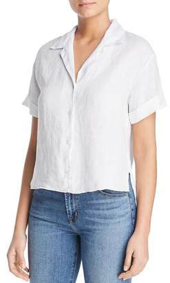 Three Dots Short-Sleeve Linen High/Low Hem Shirt