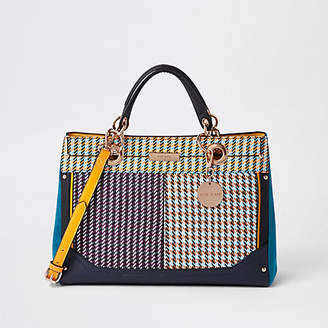 River Island Purple check tote bag