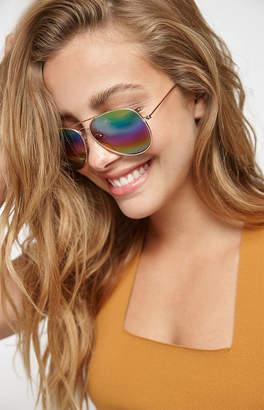 La Hearts Rainbow Aviator Sunglasses