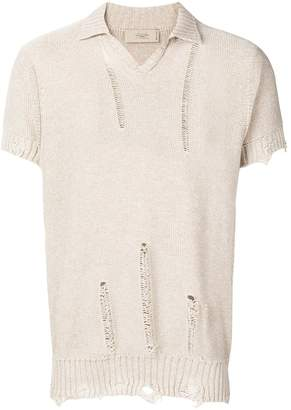 Maison Flaneur distressed polo jumper
