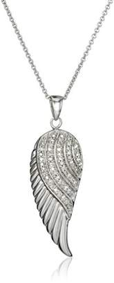 Sterling Diamond Angel Wing Pendant Necklace (1/10 cttw)