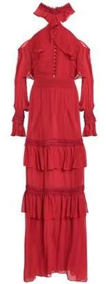 Nicholas Cold-Shoulder Ruffled Silk-Chiffon Gown