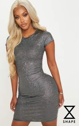 PrettyLittleThing Shape Silver Disco Metallic Cap Sleeve Bodycon Dress
