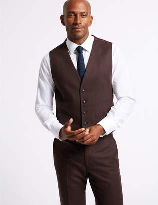 Marks and Spencer Burgundy Textured Tailored Fit Waistcoat