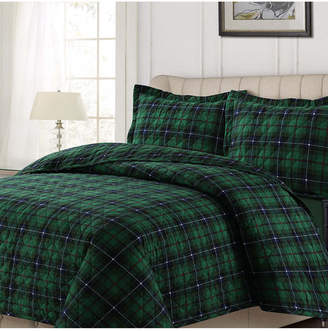 Cambridge Silversmiths Tribeca Living Plaid Cotton Flannel Printed Oversized King Quilt Set