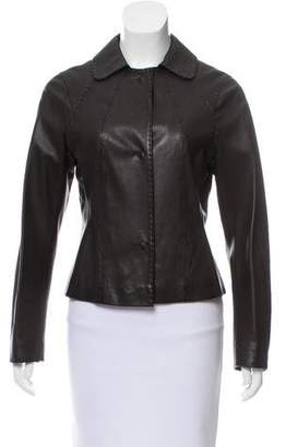 Malo Leather Collared Jacket