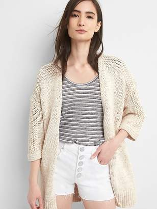 Gap Three-Quarter Sleeve Open-Front Cardigan Sweater