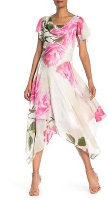 Robbie Bee Floral Asymmetrical Cowl Neck Dress