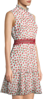 Donna Morgan Mock-Neck Rosette-Print Dress