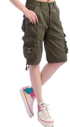 Gooket Women's Cotton Casual Loose Straight Leg Multi Pockets Twill Bermuda Cargo Shorts Tag XL