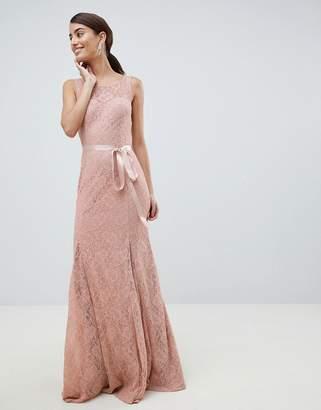 City Goddess Lace Maxi Dress With Satin Belt