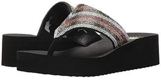 Yellow Box Giana Women's Embellished Thong Wedge Sandals Shoes Black Size 8.5