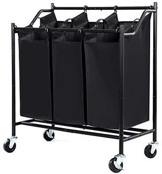 Laundry by Shelli Segal SONGMICS 3-Bag Rolling Sorter Cart Heavy-Duty Sorting Hamper W' Removable Bags & Brake Casters Black URLS70H