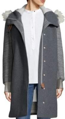 Rag & Bone Laporta Faux-Shearling Trimmed Wool Blend Coat
