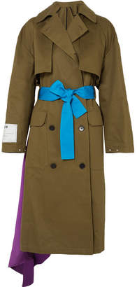 MSGM Color-block Satin-paneled Cotton-gabardine Trench Coat - Army green