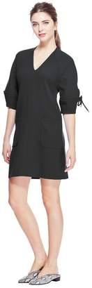 Lela Rose Wool Crepe Bow Sleeve V-Neck Tunic Dress