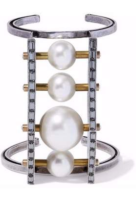 Lanvin Silver And Gold-Tone Faux Pearl And Crystal Cuff