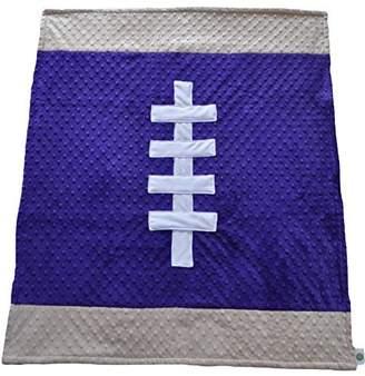 Minky Cozy Wozy Football Themed Baby Blanket, Purple/Tan, 30 x 36 by Cozy Wozy