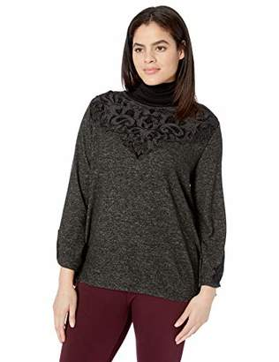 Democracy Women's Plus Size Long Bell Sleeve TOP with Velvet Cut Outs