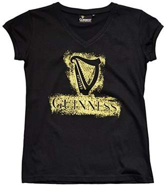 Guinness Official Merchandise Ladies Harp Designed T-Shirt With Gold Sparkles, Colour