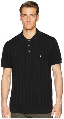 Todd Snyder Cotton Silk Ribbed Knit Polo Men's Short Sleeve Knit
