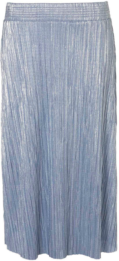 Metallic Pleat Calf Skirt