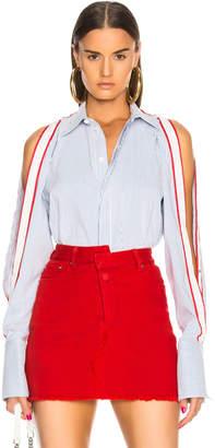 Monse Raglan Snap Sleeve Stripe Shirt