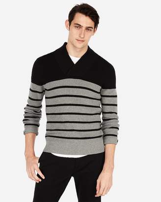 Express Striped Shawl Collar Popover Sweater