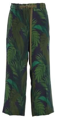 Moncler Palm Print Crop Silk Pants