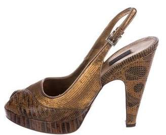 Prada Sequined Lizard Pumps
