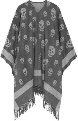 Alexander McQueen - Reversible Intarsia Wool And Cashmere-blend Cape - Gray $765 thestylecure.com