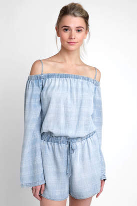 Velvet Heart Long Sleeve Off Shoulder Printed Chambray Printed Romper