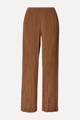 Vince Crinkled Crepe De Chine Straight-leg Pants - Light brown