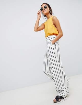 Asos Design Tailored Clean Linen Wide Leg Pants In Stripe