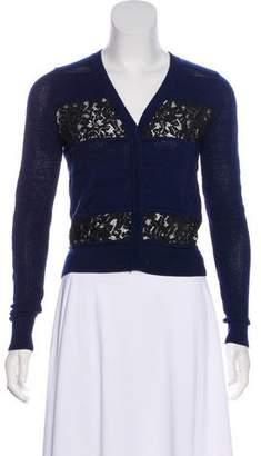 Diane von Furstenberg Wool Lace-Accented Cardigan