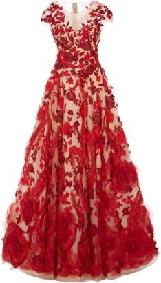Marchesa Illusion V-Neck Ballgown With Silk Organza Flowers