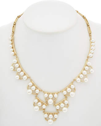 Downtown East 14K Yellow Gold Plated Pearl Bib Necklace