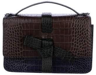Paule Ka Embossed Leather Bow Satchel
