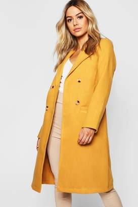 boohoo Petite Button Front Double Breasted Coat
