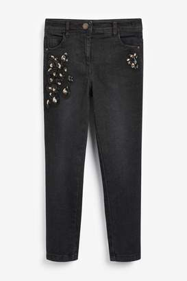 Next Girls Denim Charcoal Sequin Embellished Skinny Jeans (3-16yrs) - Grey