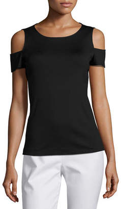 Lafayette 148 New York Cold-Shoulder Short-Sleeve Top