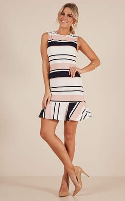 Showpo Any Questions dress in pink and navy stripe