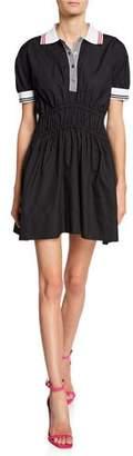 No.21 No. 21 Spread Collar Puff-Sleeve Elastic Mini Dress