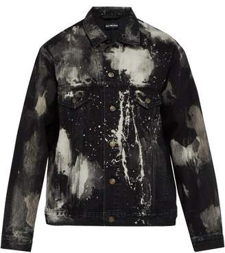 Balenciaga Paint Splattered Denim Jacket - Mens - Black White