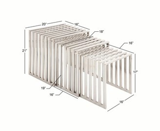 Decmode Set of 3 modern 17, 19 and 21 inch banded stainless steel nesting tables, Silver