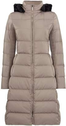 Armani Jeans Long padded hooded coat in fango