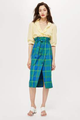 Topshop Bright Check Wrap Midi Skirt